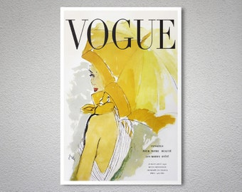 Vogue Cover July-August, 1950 Vintage Fashion Poster - Poster Print, Sticker or Canvas Print