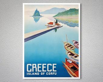 Greece Island of Corfu Vintage Travel Poster, Canvas Giclee Print