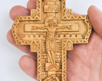 Crucifix pendant in olive wood, handmade carved cross.
