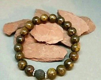 Bracelet-Bronzite-Sterling Silver-Black Lava Bead-Diffuser-Essential Oils-Stacking-One Size Fits Most-Unique-Semi Precious-Handcrafted