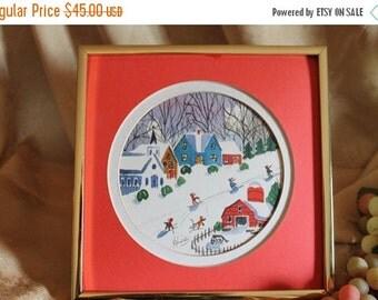 Christmas In July Hilda Ross Kaihlanen Signed Watercolor Lithograph of Folk Art Winter Scene - Massachusetts Artist
