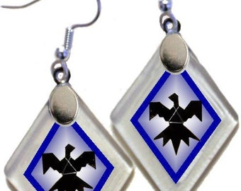"""Earrings """"Thunderbird"""" from rescued, repurposed window glass~Lightening landfills one tiny glass diamond at a time!"""