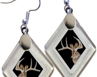 "Earrings ""Jackalope"" (Black Jack) from rescued, repurposed window glass~Lightening landfills one tiny glass diamond at a time!"