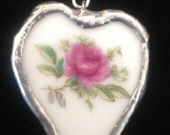 Broken china jewelry heart shaped pendant!