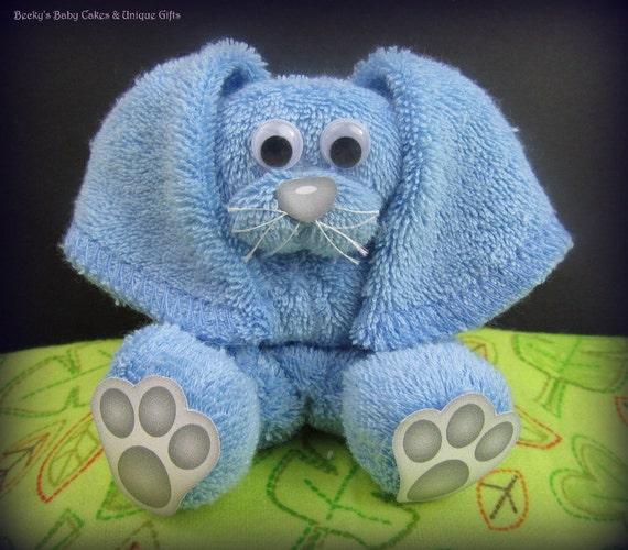 Washcloth Bunnies: Washcloth Bunny Easket Basket Filler Baby Shower Favors