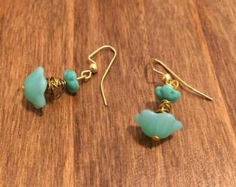 Seafoam Green Flower Wire Earrings