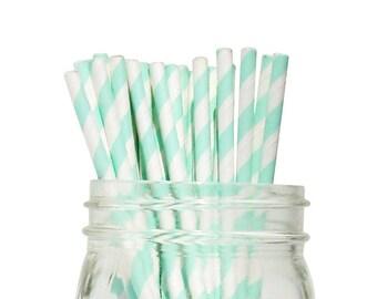 Seafoam Striped Party Paper Straws 25pcs SPS250081 Just Artifacts Brand