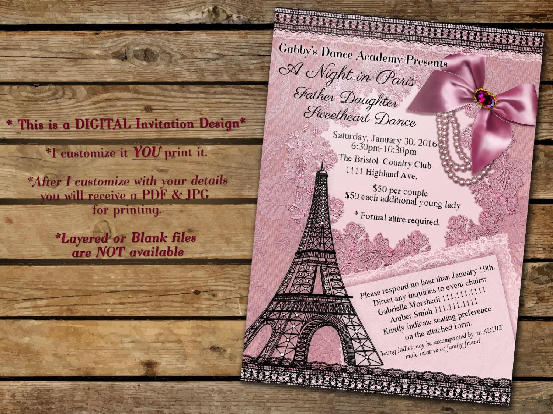 A Night in Paris Paris Invitations Paris Themed Party