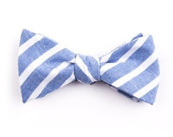 Blue Large Striped Bow Tie