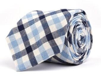 Navy & Baby Blue Plaid Necktie