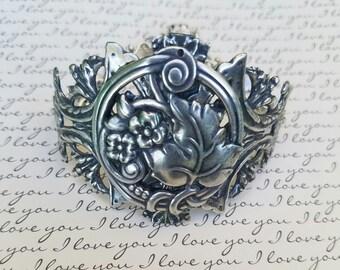 Silver Leaf Filigree Bracelet