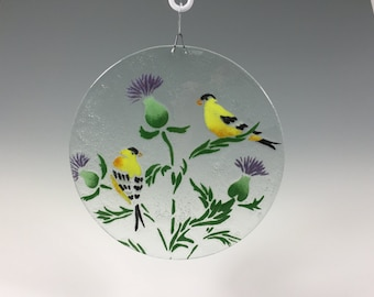 Goldfinch Suncatcher Thistle and Goldfinch Window Hanging