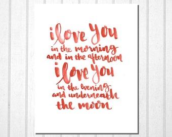 Skidamarink Print, I Love You, Hand Lettering Typography Modern Print Wall Art Room Decor Kids Room Nursery Decor Valentine Print Kids Song