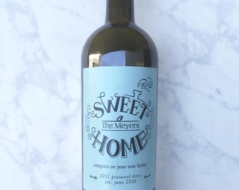 Personalized new home housewarming gift wine label realtor for Best wine for housewarming gift