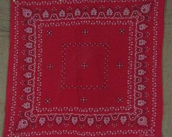 Vintage Red Elephant Bandana Handkerchief Fast Color Tri Color