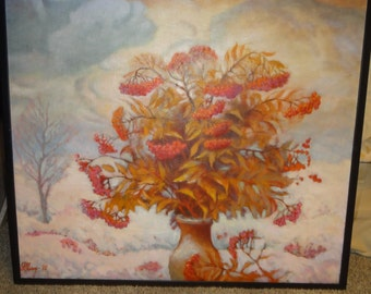 "Vintage Oil on Canvas Titled "" The Rowan"" By Russian Artist Nikalay Milckhin"