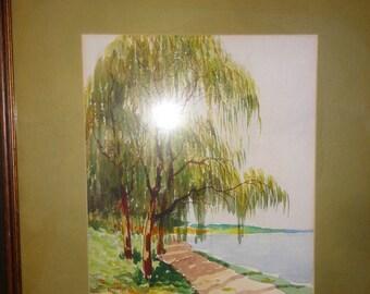 Vintage Watercolor /Tree/Water/ Signed B. Mayor
