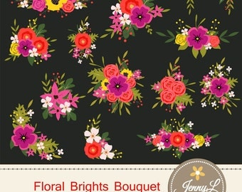 Flower Bouquet Clipart, Bright Wedding Flowers, Flower Bunches, Floral Arrangement for digital Scrapbooking, Wedding, Birthday Invitations