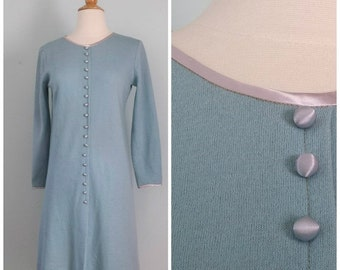 SALE 20% OFF Vintage 1960s Sky Blue A-Line Dress with Satin Covered Buttons & Trim