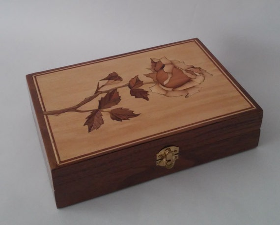 Wooden Box - Marquetry - Rose