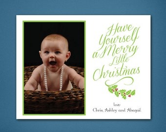 Merry Little Christmas • Christmas Card • Christmas • Holiday Cards • Photo Cards • Holly • Green • Christmas Photo Card • 4x6 Card • Xmas