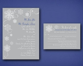 Snowflake Wedding Invitation Set • Winter Wedding Invitations • Wedding Invitations • Snow Wedding • Invites • Silver and Blue • Winter
