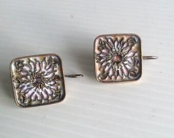 Vintage 60's 70's enamel cloisonne earrings