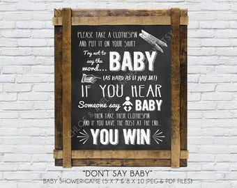 Dont say baby game (INSTANT DOWNLOAD) - Dont say baby - baby shower games - Baby shower activities - High Resolution Digital Printable File