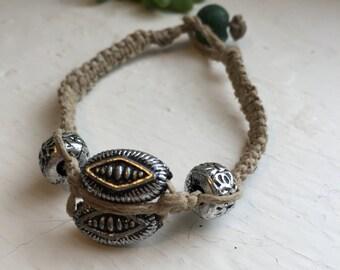 Beaded Hemp Bracelet. Hemp Jewelry. Natural Jewelry.