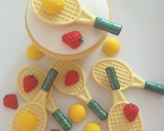 6 TENNIS RACKETS handmade edible sugar paste cupcake decorations toppers