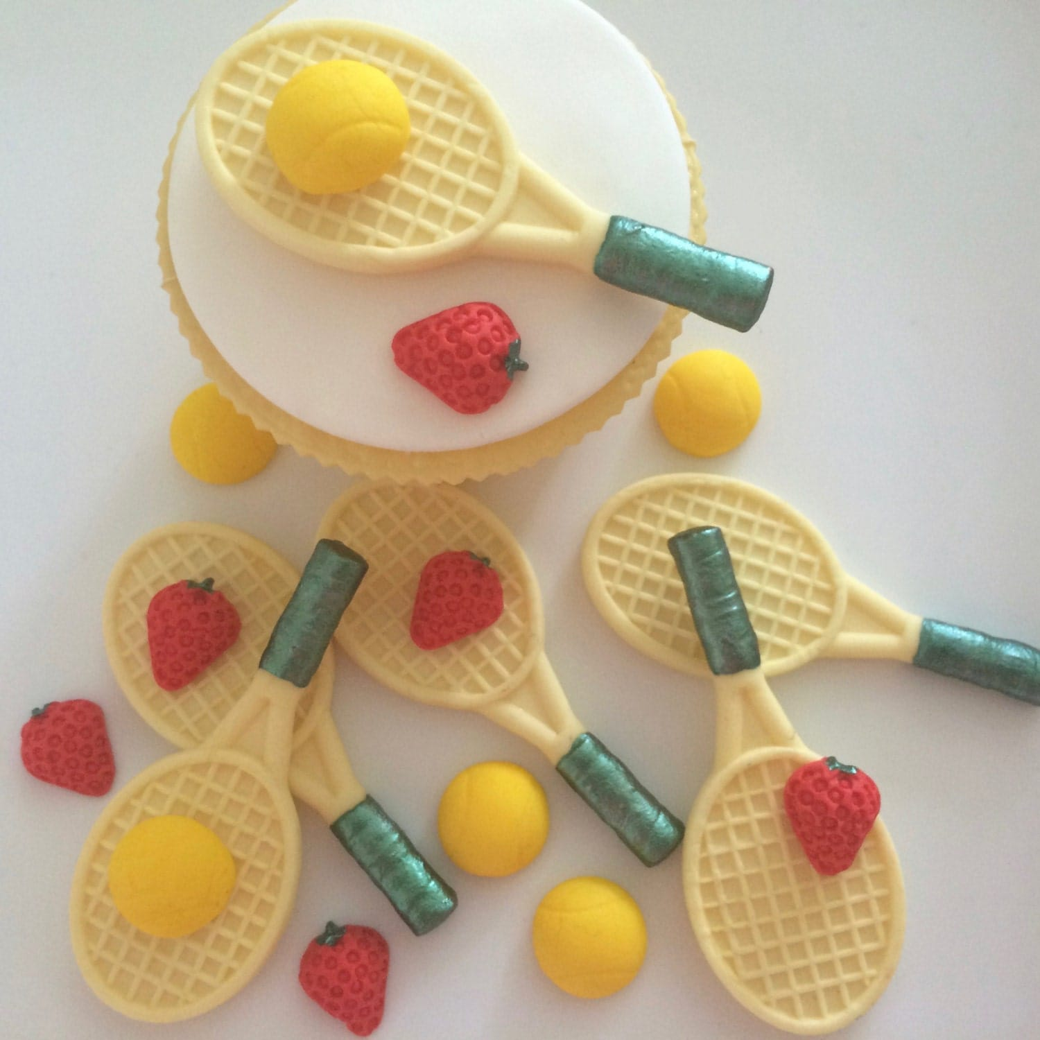 Tennis Cake Decorations Uk : 6 TENNIS RACKETS edible sugar paste cake decorations toppers