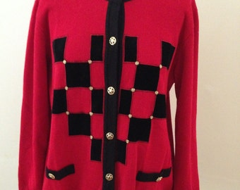 1980's Red and Black Retro Cardigan