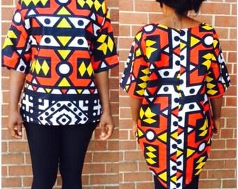 Asymmetrical ankara shirt