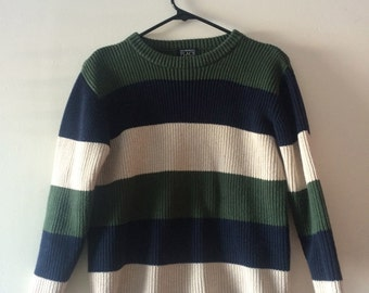 True Vintage Earth Toned (Navy/Green/Tan) Striped Knit Fisherman Style Sweater