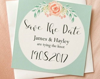 Watercolour Floral Mint and Peach Save The Dates