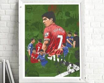 Luis Suarez Football Poster