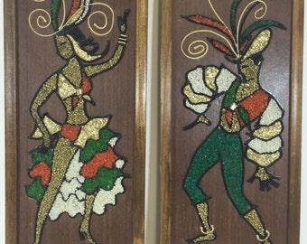Vintage Gravel Art Brazilian Carnival Samba Dancers