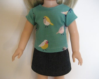 Reserved for Sam - 14.5 Inch Doll Clothes - Bird T-Shirt and Jean Skirt made to fit dolls such as the Wellie Wishers doll clothes