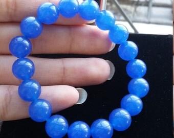 Candy blue beaded bracelets, jade quartzite, fashion stretch bracelet 10mm beads