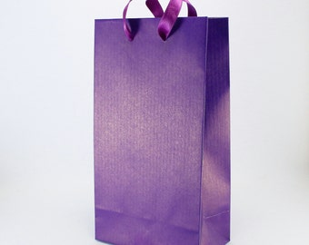 50 Paper Gift Bags w/ Handles - Purple Gift Bags - SMALL Bridal Shower Gift Bags - Birthday Gifts Party Favor Bags