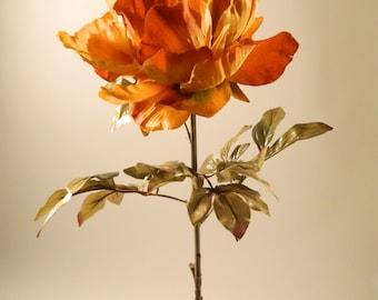 "Silk Peony Spray in Garnet Red - 36"" Tall"