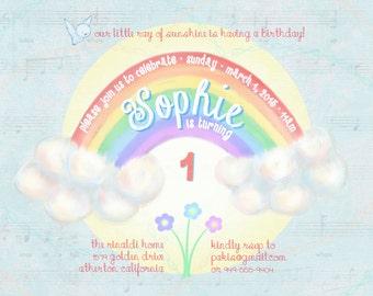 "Rainbow Whimsical Pastel Birthday Invitation --5""x7"" Digital Printable File, PDF or JPG, 1st, 2nd, 3rd birthday etc."