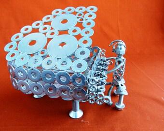 Piano piano piano pianist steel sculpture sculpture pianist Art metal recycling art of recycling art of recycling