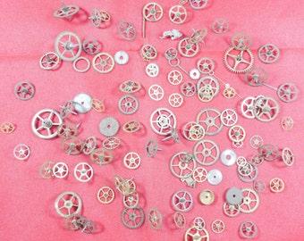 105  Vintage Steampunk Watch Gears Wheels Parts Altered Art.#-9