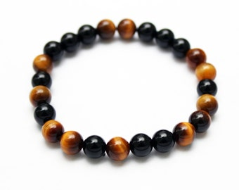 Mens bracelet with minerals - onyx and tiger eye