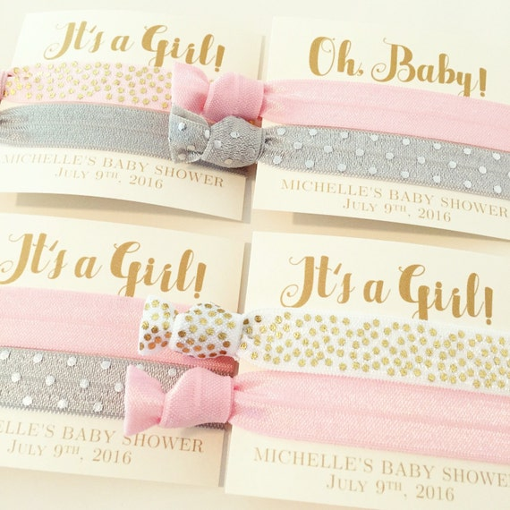 Custom Baby Shower Hair Tie Favors | It's a Girl Hair Tie Favors, Baby Shower Favor, Light Pink White Gray Gold, Custom Colors, Baby Girl