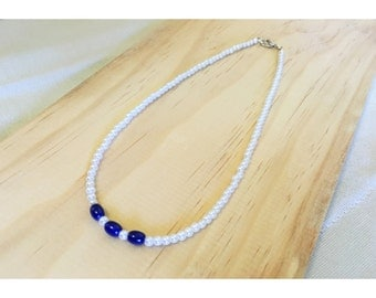 White Pearl Navy Beaded Necklace