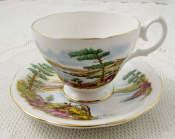 Queen Anne Tea Cup and Saucer, Ye Banks and Braes, Vintage Bone China, Teacup and Saucer, Scottish Tea Cup