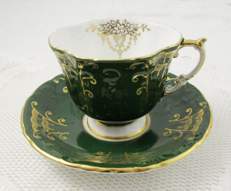 aynsley green tea cup and saucer square shape vintage teacup. Black Bedroom Furniture Sets. Home Design Ideas