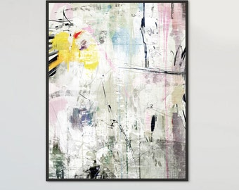 "Large Abstract, Printable Abstract Art, 'Lightwave' Large Art Prints, 16""x20"" Expressive Art, Modern Canvas Art, Colorful Painting Print"